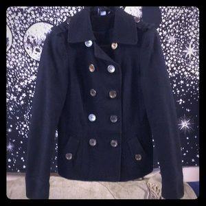 H & M Black Pea Coat size 8